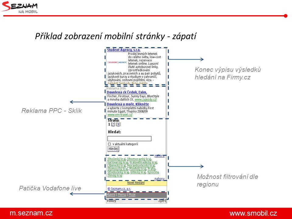 Příklad zobrazení mobilní stránky - zápatí