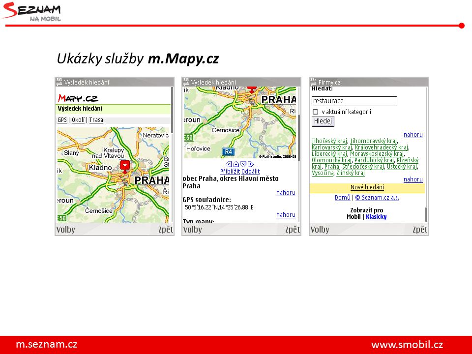 Ukázky služby m.Mapy.cz m.seznam.cz www.smobil.cz