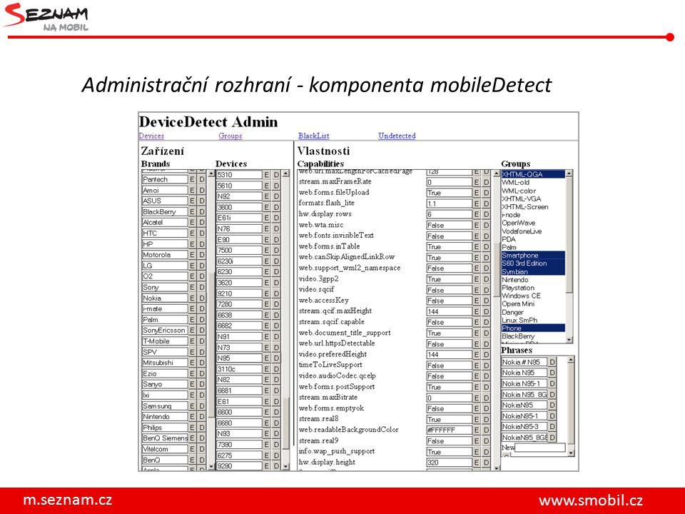 Administrační rozhraní - komponenta mobileDetect