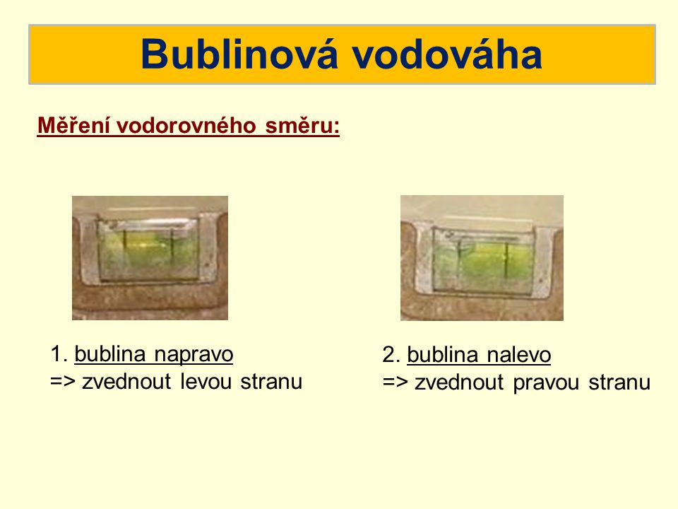 Bublinová vodováha Měření vodorovného směru: 1. bublina napravo