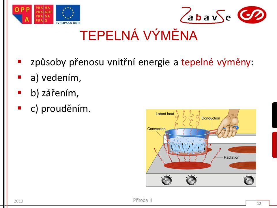 TEPELNÁ VÝMĚNA způsoby přenosu vnitřní energie a tepelné výměny: