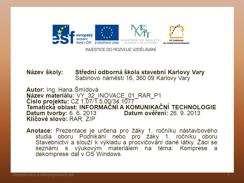 Název školy: Střední odborná škola stavební Karlovy Vary
