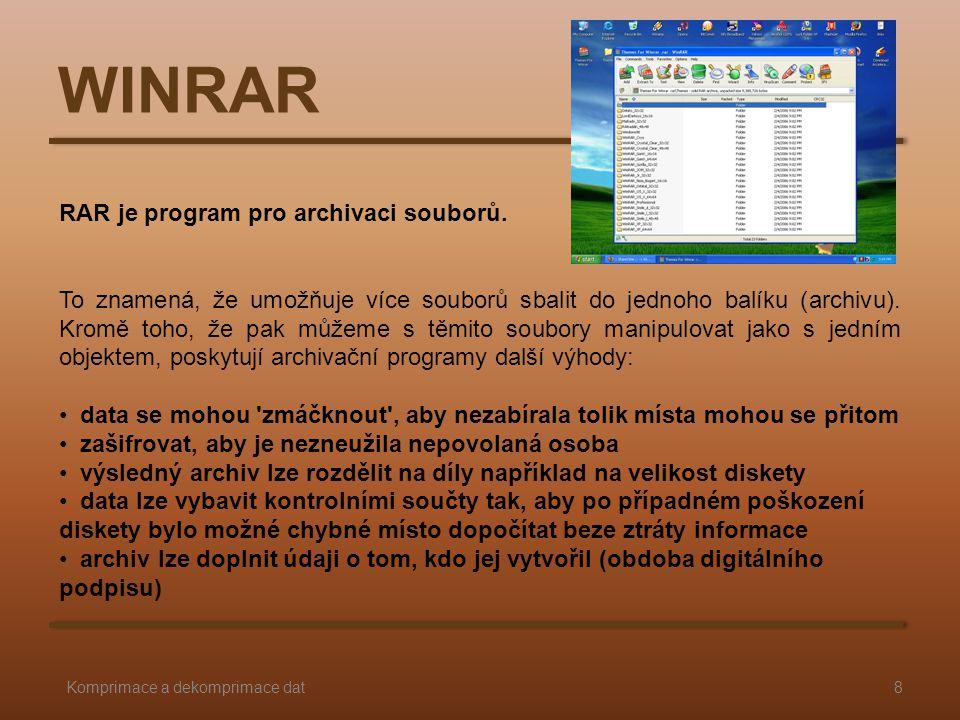 WINRAR RAR je program pro archivaci souborů.