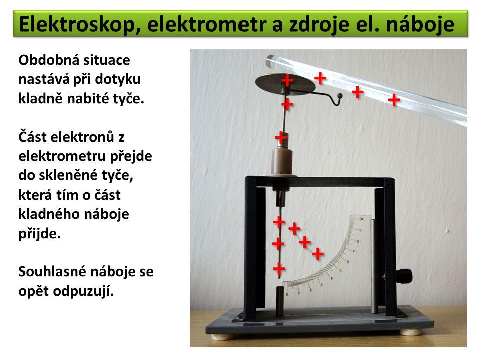 + + + + + + + + + + + + Elektroskop, elektrometr a zdroje el. náboje