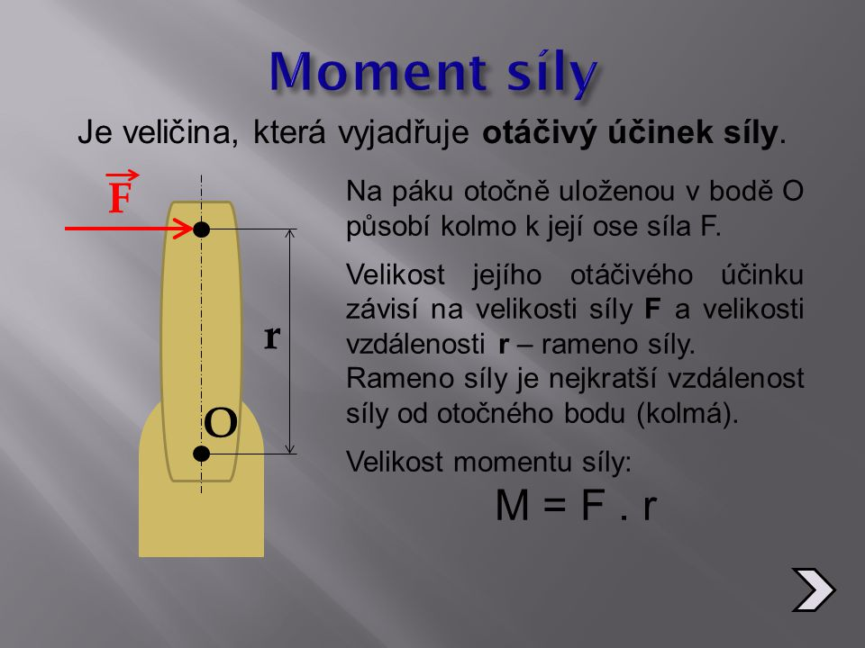 Je veličina, která vyjadřuje otáčivý účinek síly.