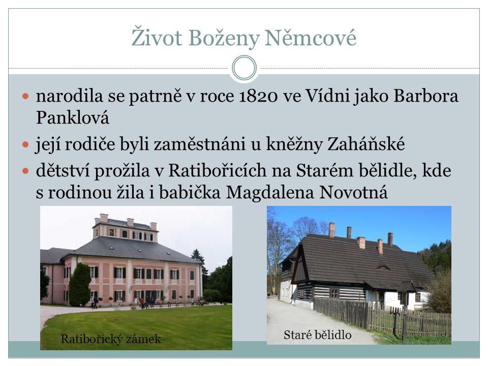 Život Boženy Němcové narodila se patrně v roce 1820 ve Vídni jako Barbora Panklová. její rodiče byli zaměstnáni u kněžny Zaháňské.