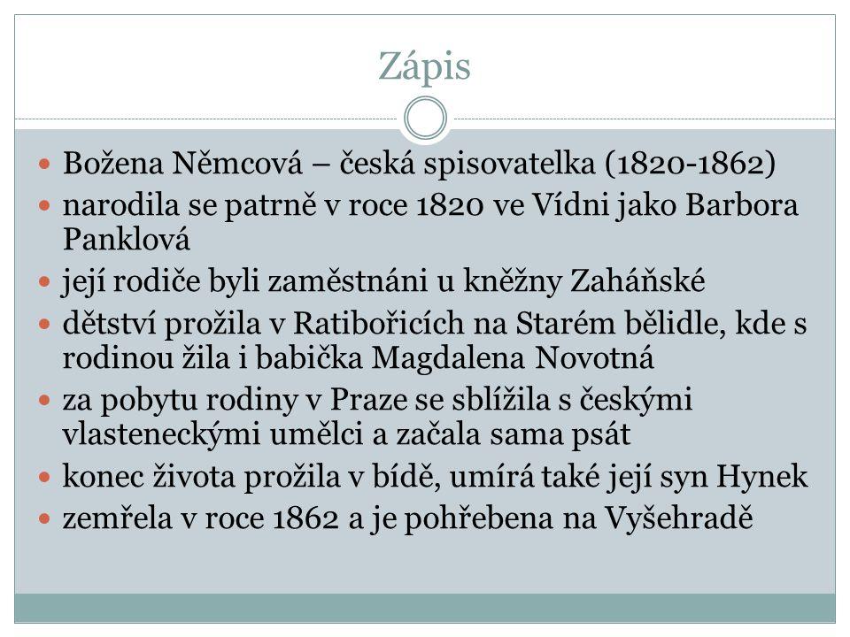 Zápis Božena Němcová – česká spisovatelka (1820-1862)