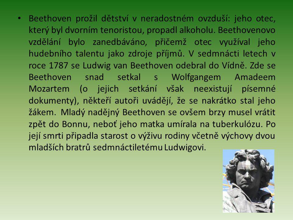 Beethoven prožil dětství v neradostném ovzduší: jeho otec, který byl dvorním tenoristou, propadl alkoholu.