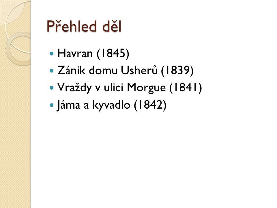 Přehled děl Havran (1845) Zánik domu Usherů (1839)