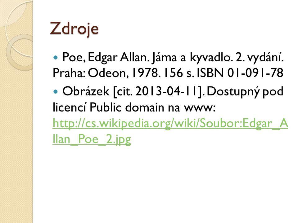 Zdroje Poe, Edgar Allan. Jáma a kyvadlo. 2. vydání. Praha: Odeon, 1978. 156 s. ISBN 01-091-78.