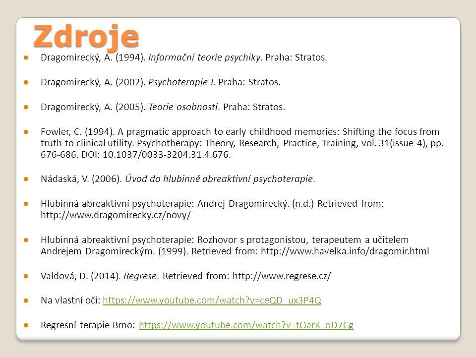 Zdroje Dragomirecký, A. (1994). Informační teorie psychiky. Praha: Stratos. Dragomirecký, A. (2002). Psychoterapie I. Praha: Stratos.