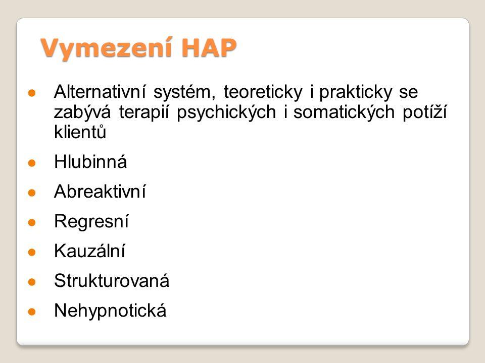 Vymezení HAP Alternativní systém, teoreticky i prakticky se zabývá terapií psychických i somatických potíží klientů.