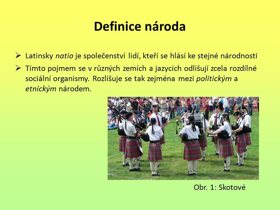 Definice národa Latinsky natio je společenství lidí, kteří se hlásí ke stejné národnosti.