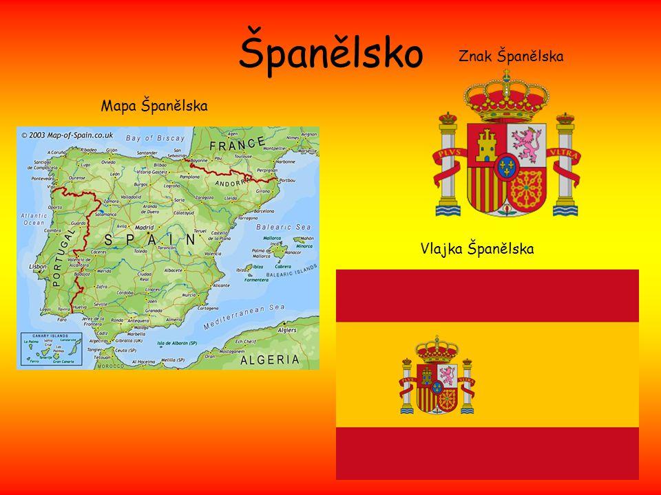 Španělsko Znak Španělska Mapa Španělska Vlajka Španělska