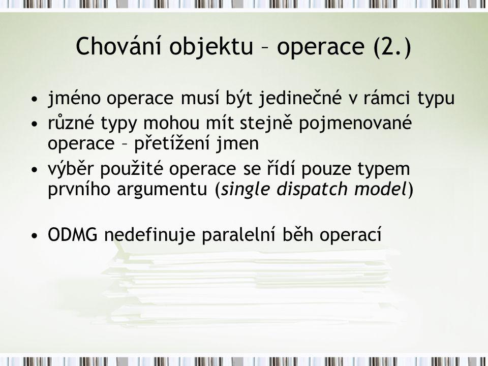Chování objektu – operace (2.)
