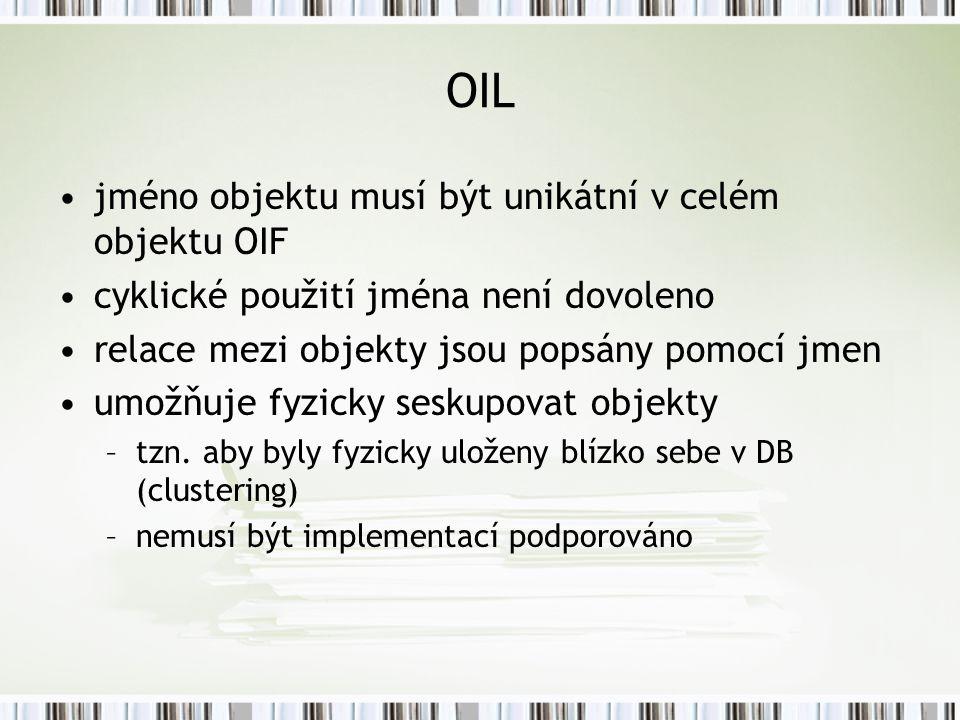 OIL jméno objektu musí být unikátní v celém objektu OIF