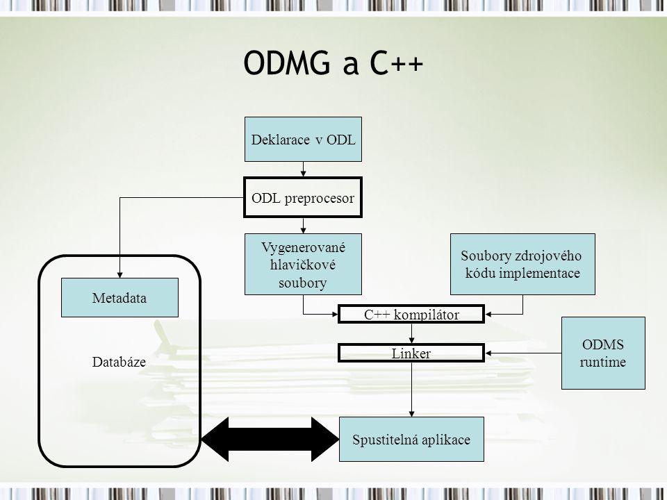 ODMG a C++ Deklarace v ODL ODL preprocesor