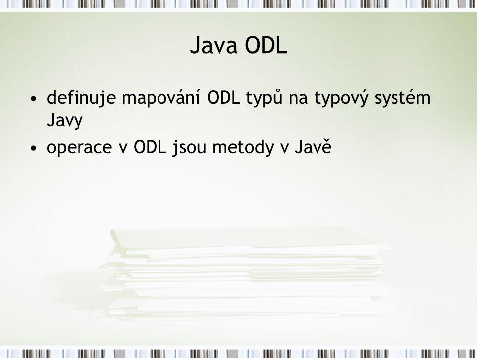 Java ODL definuje mapování ODL typů na typový systém Javy