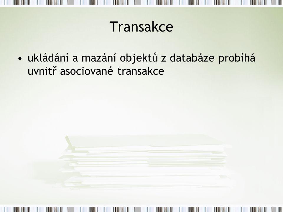 Transakce ukládání a mazání objektů z databáze probíhá uvnitř asociované transakce