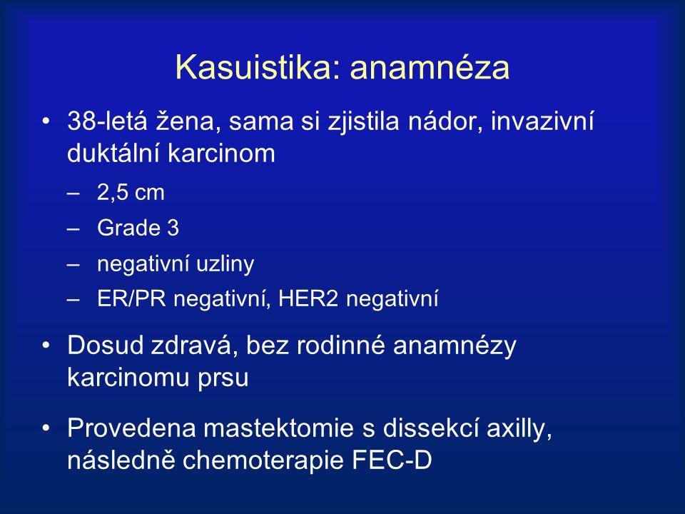 Kasuistika: anamnéza 38-letá žena, sama si zjistila nádor, invazivní duktální karcinom. 2,5 cm. Grade 3.