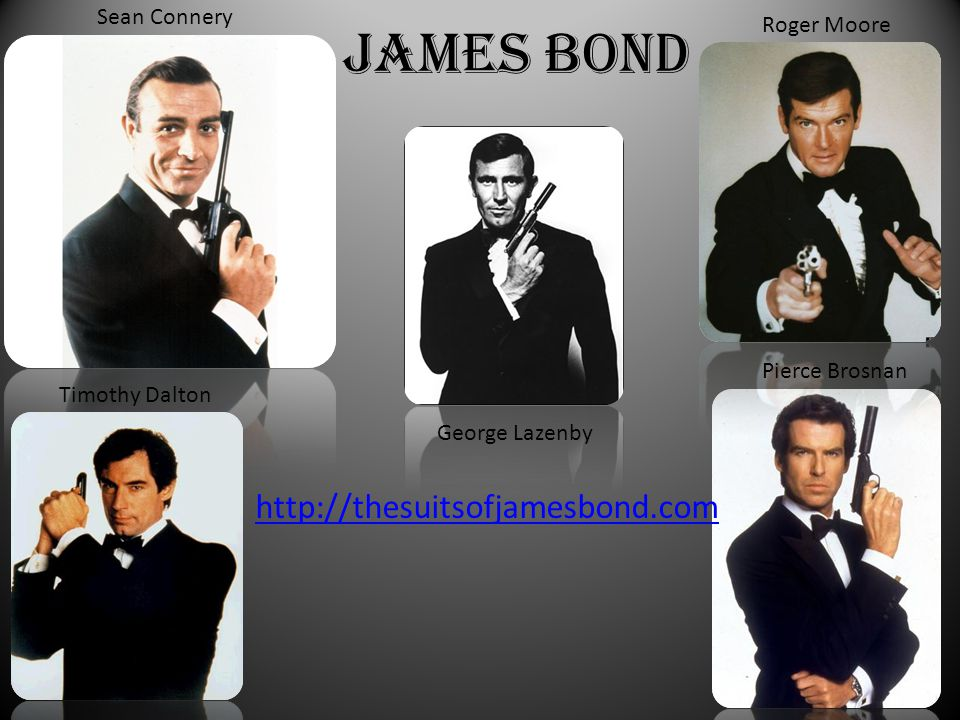 James Bond http://thesuitsofjamesbond.com Sean Connery Roger Moore