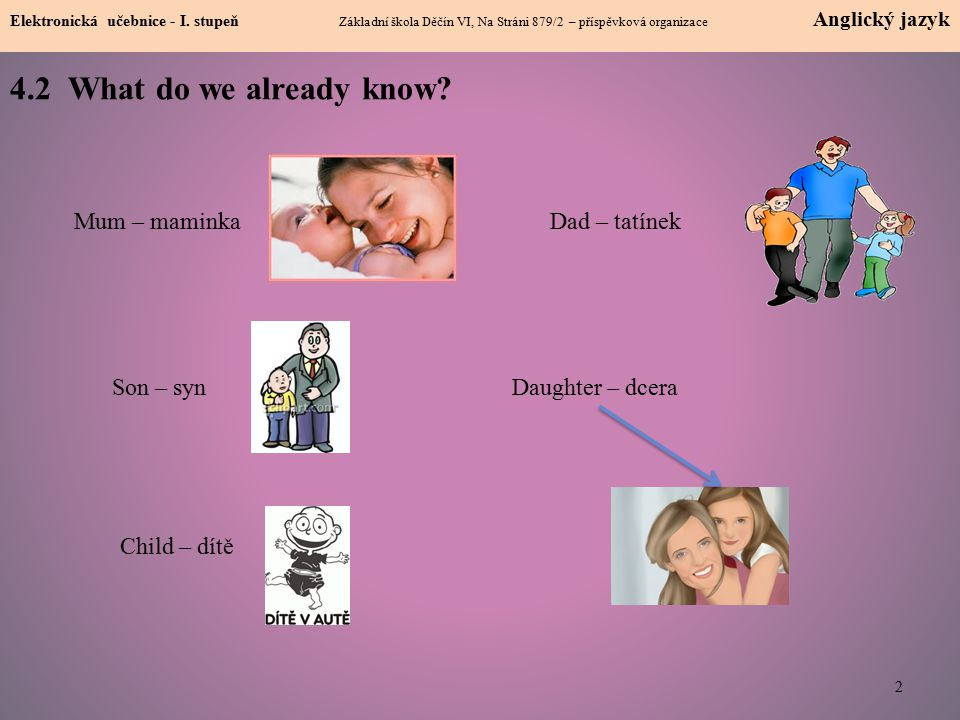 4.2 What do we already know Mum – maminka Dad – tatínek Son – syn