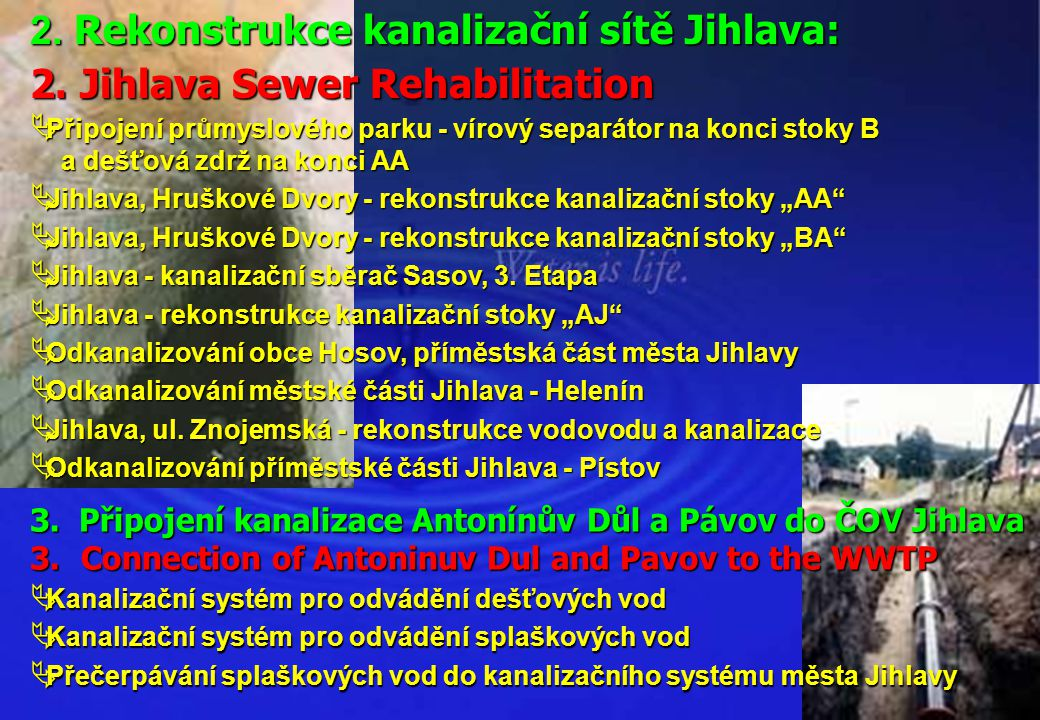 2. Rekonstrukce kanalizační sítě Jihlava: