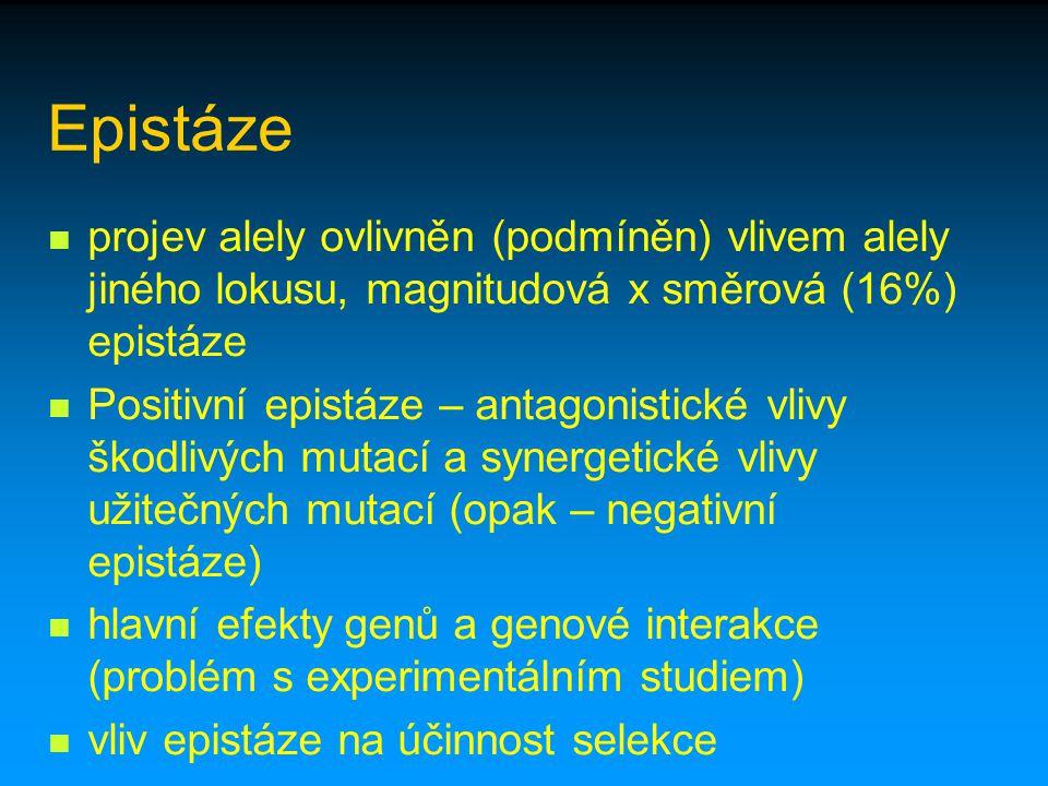 Epistáze projev alely ovlivněn (podmíněn) vlivem alely jiného lokusu, magnitudová x směrová (16%) epistáze.