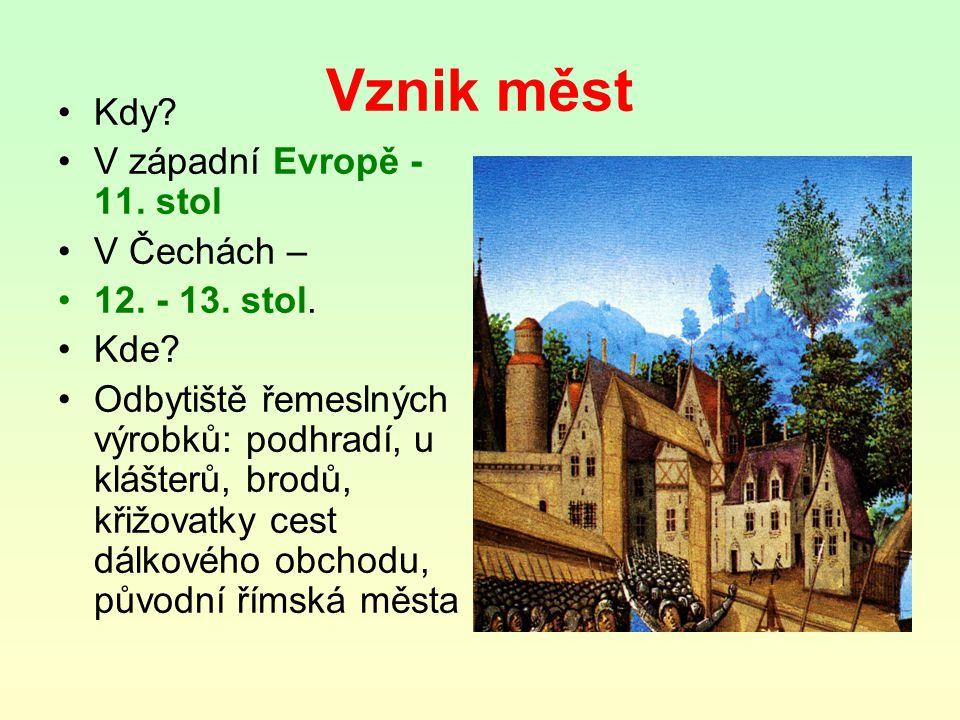 Vznik měst Kdy V západní Evropě -11. stol V Čechách – 12. - 13. stol.