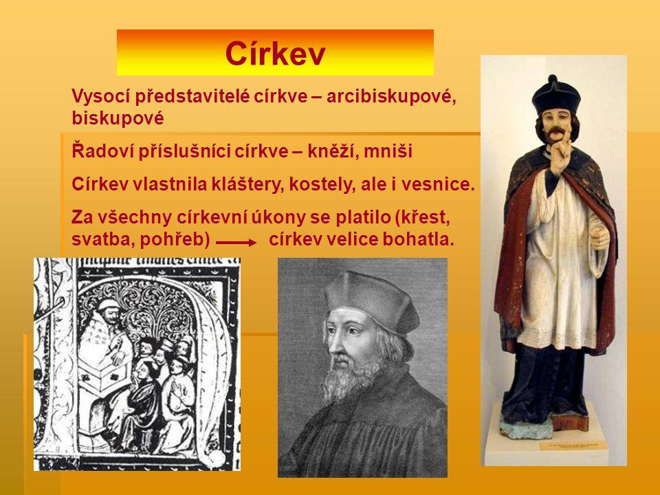 Církev Vysocí představitelé církve – arcibiskupové, biskupové