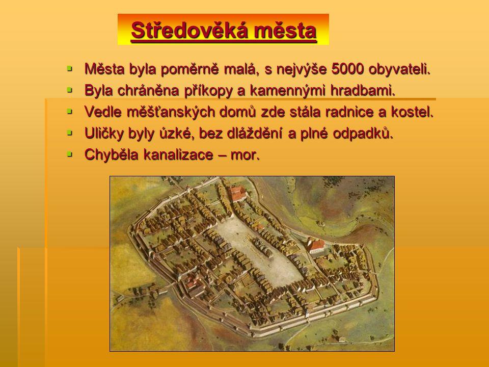 Středověká města Města byla poměrně malá, s nejvýše 5000 obyvateli.