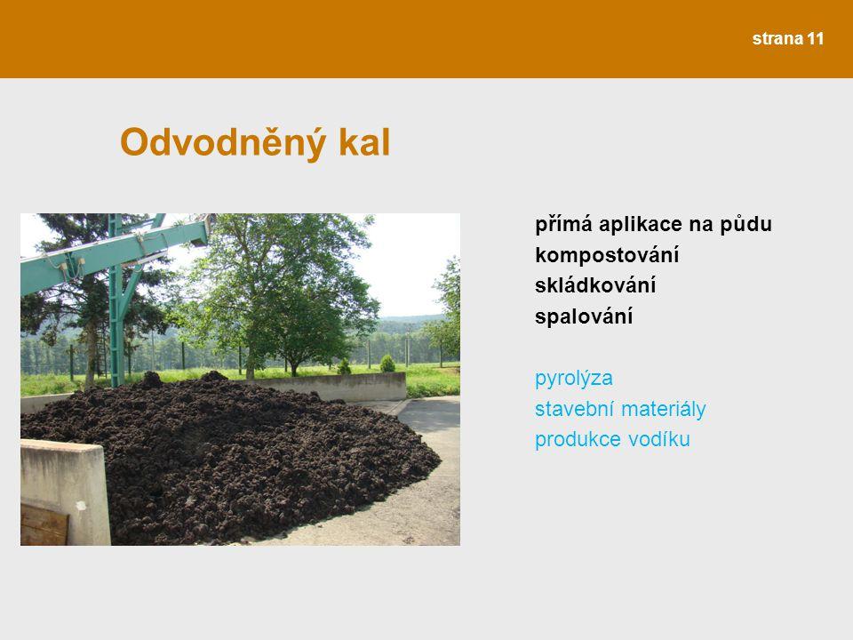 Odvodněný kal přímá aplikace na půdu kompostování skládkování