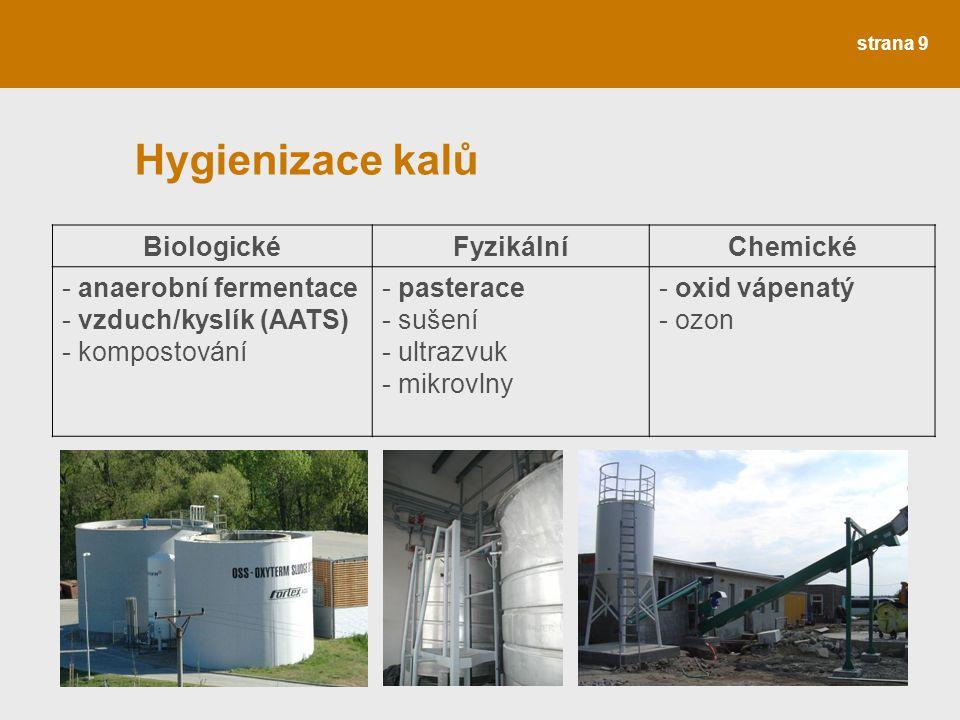 Hygienizace kalů Biologické Fyzikální Chemické anaerobní fermentace