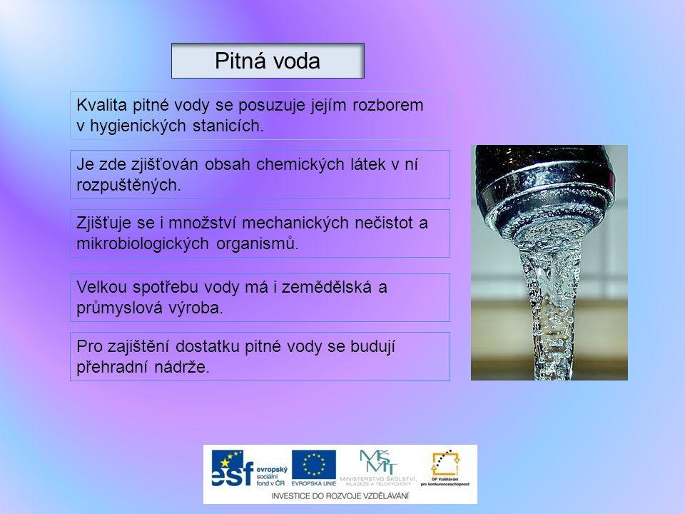Pitná voda Kvalita pitné vody se posuzuje jejím rozborem
