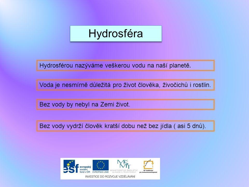 Hydrosféra Hydrosférou nazýváme veškerou vodu na naší planetě.