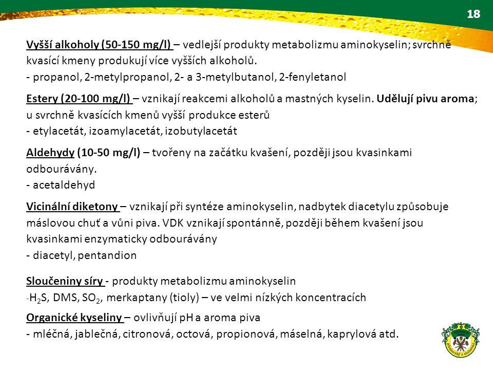 Vyšší alkoholy (50-150 mg/l) – vedlejší produkty metabolizmu aminokyselin; svrchně kvasící kmeny produkují více vyšších alkoholů.