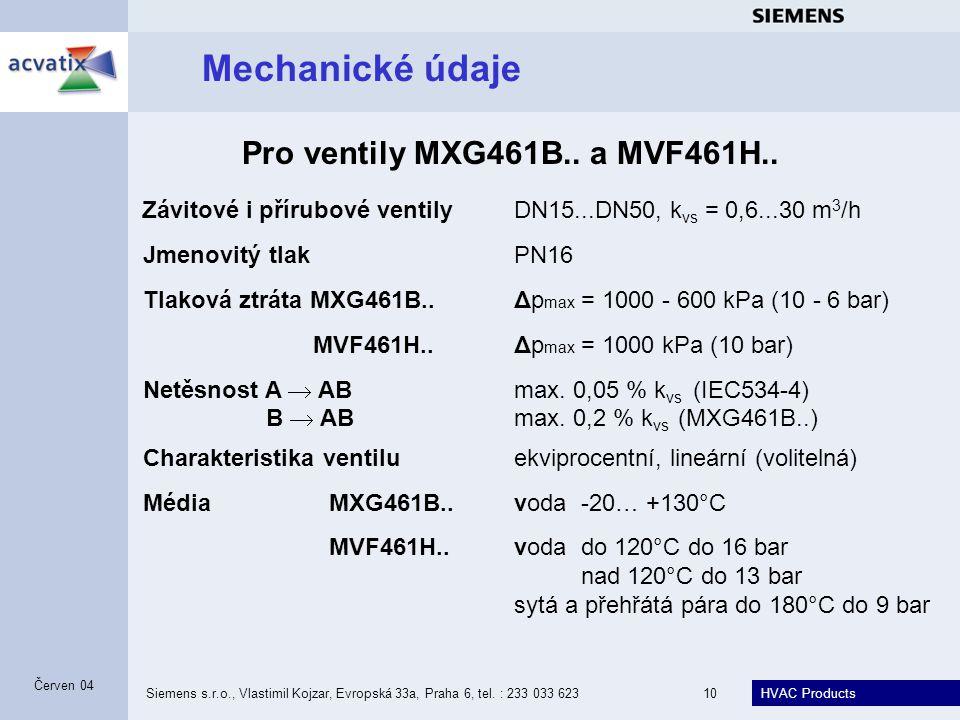 Mechanické údaje Pro ventily MXG461B.. a MVF461H..
