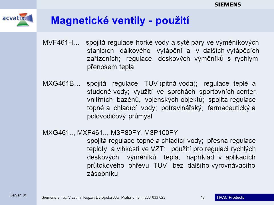 Magnetické ventily - použití