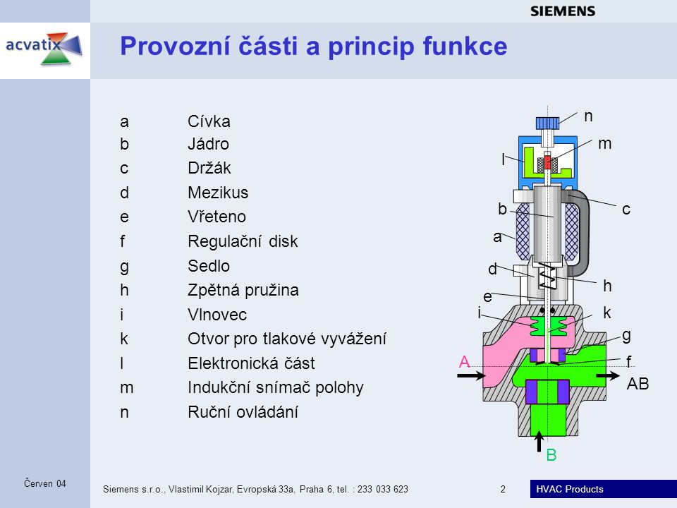 Provozní části a princip funkce