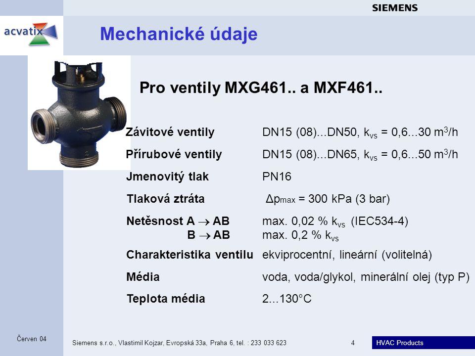 Mechanické údaje Pro ventily MXG461.. a MXF461..