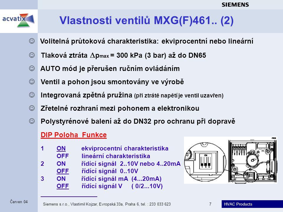 Vlastnosti ventilů MXG(F)461.. (2)