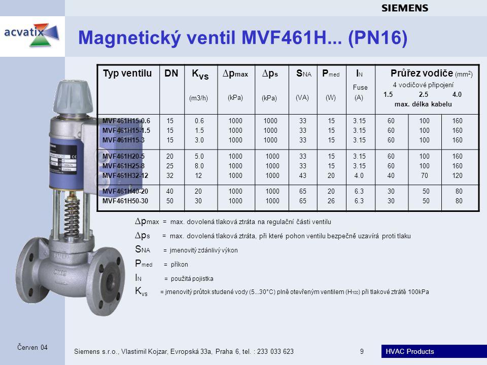Magnetický ventil MVF461H... (PN16)