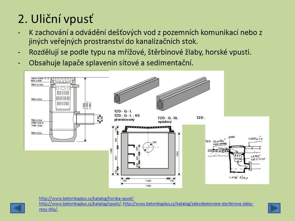 2. Uliční vpusť K zachování a odvádění dešťových vod z pozemních komunikací nebo z jiných veřejných prostranství do kanalizačních stok.