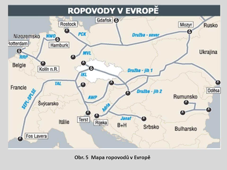 Obr. 5 Mapa ropovodů v Evropě