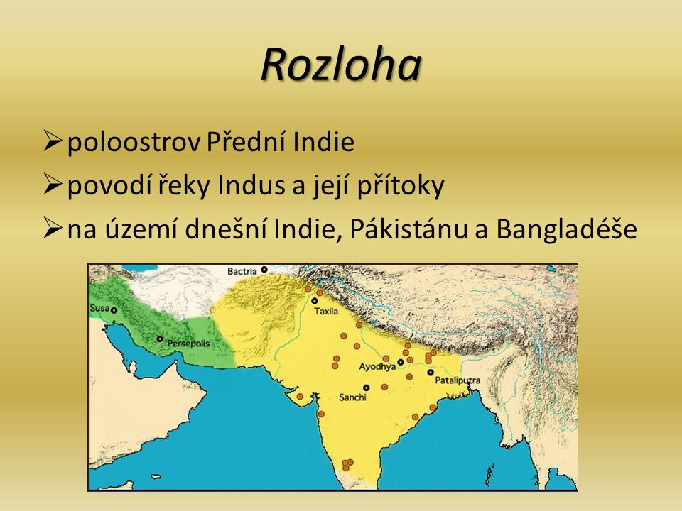 Rozloha poloostrov Přední Indie povodí řeky Indus a její přítoky