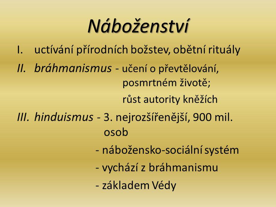 Náboženství bráhmanismus - učení o převtělování, posmrtném životě;