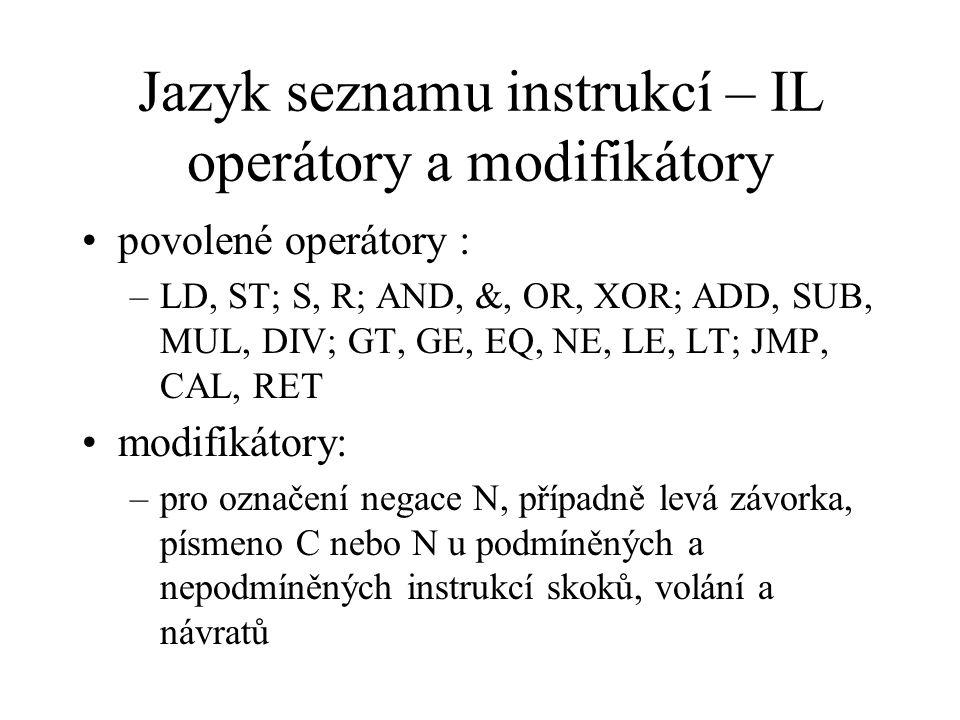 Jazyk seznamu instrukcí – IL operátory a modifikátory
