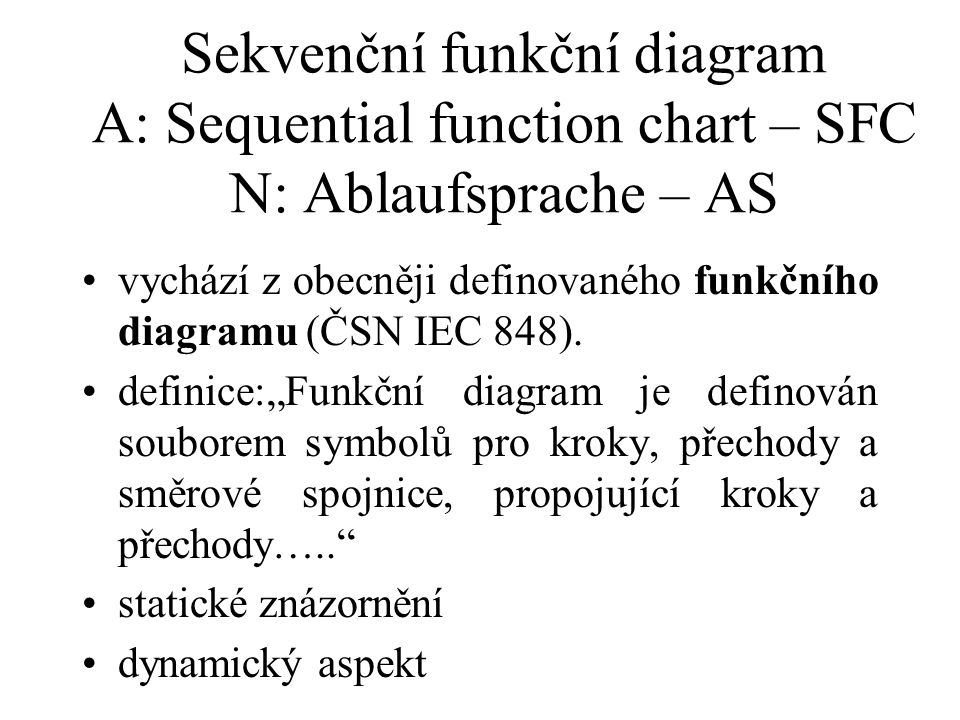 Sekvenční funkční diagram A: Sequential function chart – SFC N: Ablaufsprache – AS