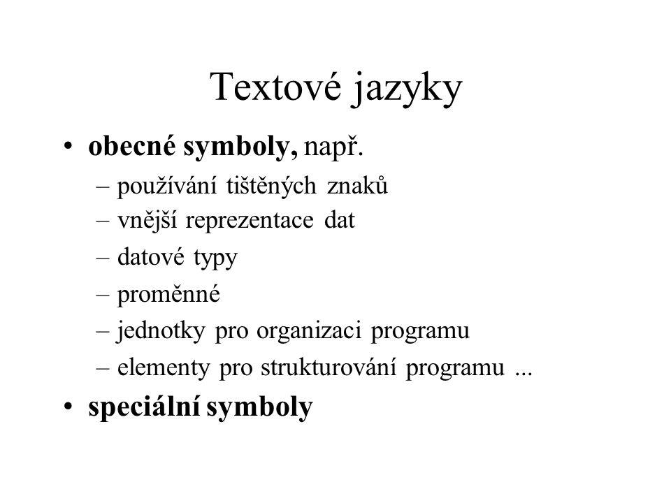 Textové jazyky obecné symboly, např. speciální symboly