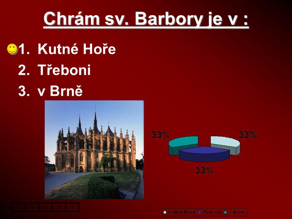 Chrám sv. Barbory je v : Kutné Hoře Třeboni v Brně 1 2 3 4 5